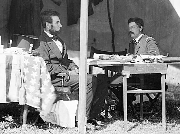 Lincoln consults with McClellan after Antietam, October 3, 1862. Photo by Alexander Gardner via the Library of Congress and Wikimedia Commons, public domain