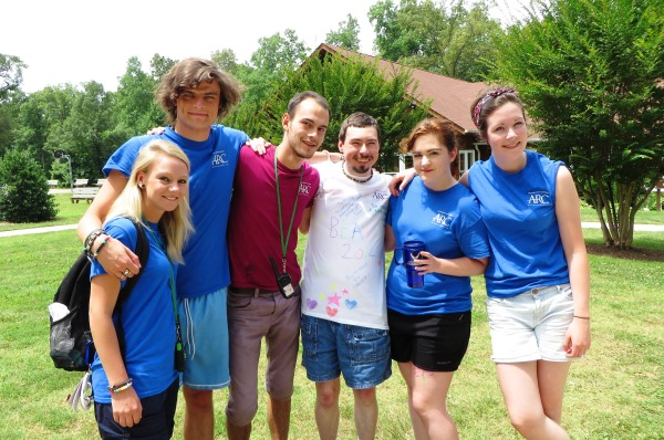 Matt with just a few of the many fabulous staffers at Camp Baker, June 2014.