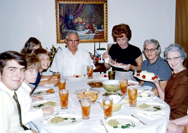 This day was more beautiful than I could have known at the time. Sunday dinner at home with our visiting PaPa and both Grannies, 1969.