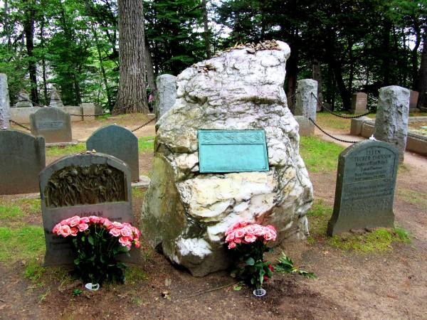 The grave of Ralph Waldo Emerson (center) and family members, Sleepy Hollow Cemetery, Concord, Massachusetts, June 2012