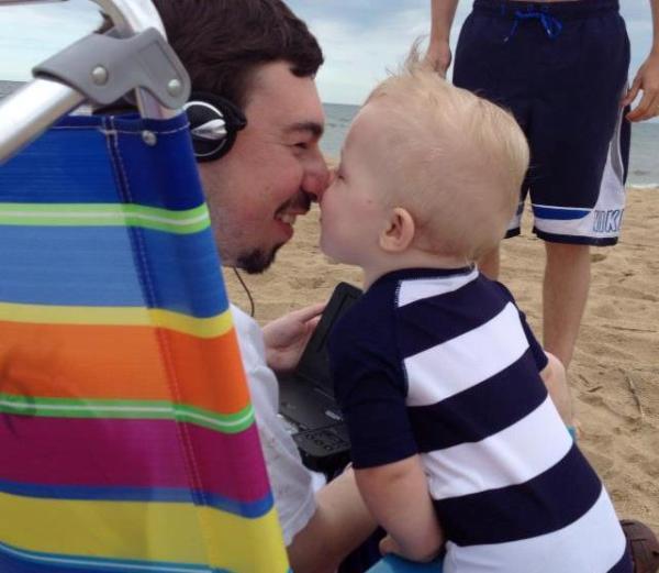 Grady and Matt are a mutual admiration society. Dam Neck,  Virginia, June 2014