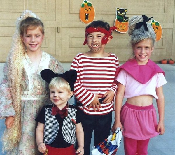 Matt Blackbeard with Rapunzel, Judy Jetson and Mickey Mouse, Halloween 1992.