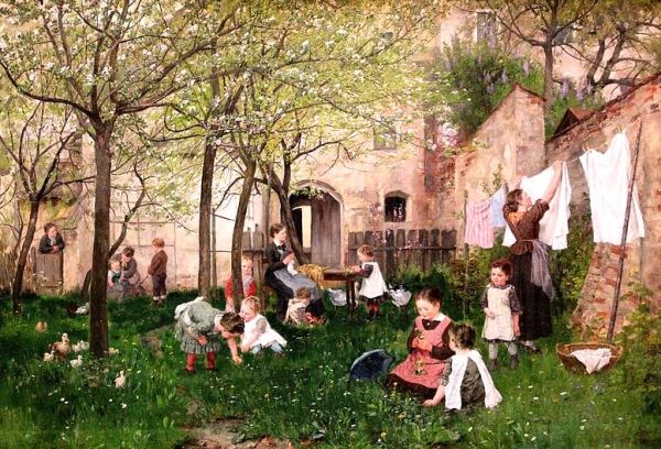 """No matter who we are or what we do, manners make life better for all. """"Kindergarten"""" by Johann Sperl via Wikimedia Commons; artwork in the public domain."""