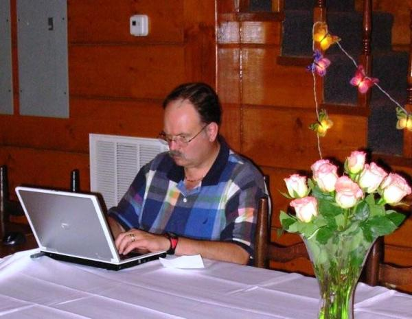 Larry grabs a few minutes of quiet after a family gathering in August 2009.