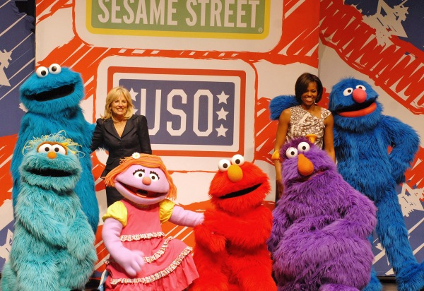 Jill Biden and Michelle Obama at a USO celebration, public domain image.