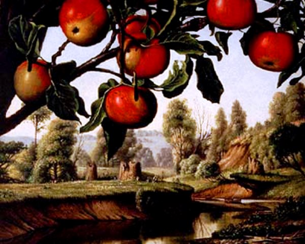 """Landscape with Apple Trees"" by Levi Wells Prentice, public domain via Wikimedia Commons"