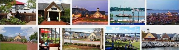 Images of Riverwalk Landing (above) and the historic village (below)