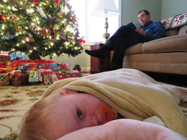 Grady enjoys a self-chosen respite from the Christmas chaos, December 2014
