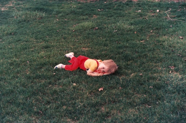 Like father, like son -- Drew at about the same age, enjoying our back yard. Huber Heights, Ohio, sometime in 1985