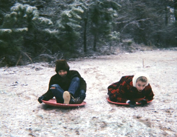 Al and me, enjoying what passed as a snowfall in Atlanta in the mid 1960's.