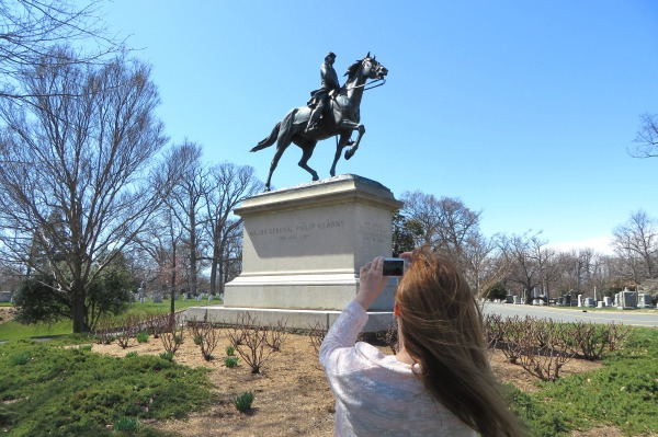 March 2015: Kelly photographs the monument to Philip Kearney, who lost his arm, and later his life, in service to the Union Army.