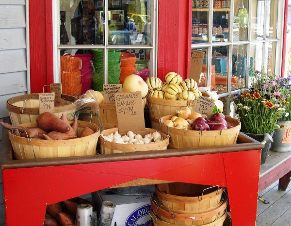 Locally grown produce for sale in Sonoma County, California, May 2003