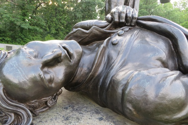 Detail of a monument to a fallen soldier at Gettysburg