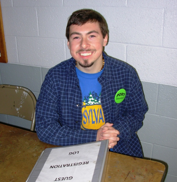 Matt greets guests with a smile at the PORT Shelter, March 2008.
