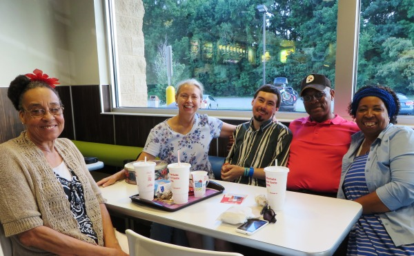 Contagious happiness: Carla snapped this photo of Ms. Ella, Raynard and Mary with Matt and me. That's a yummy chocolate cake in the tin on the table in front of me. But I digress... Virginia Beach, July 2015