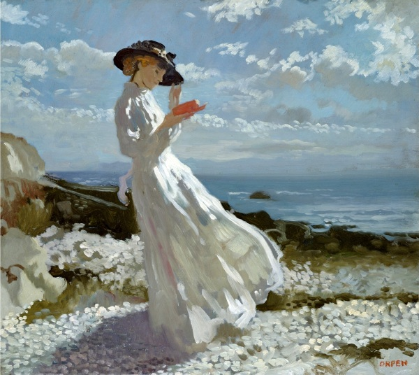 Grace reading at Howth Bay by William Orpen, Public domain, via Wikimedia Commons