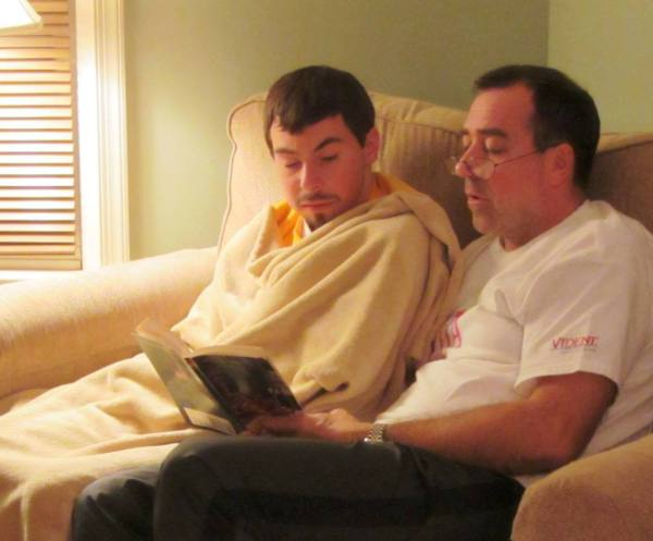 Despite a devastating diganosis and a grim prognosis, some things remained. Jeff and Matt reading, November 2012