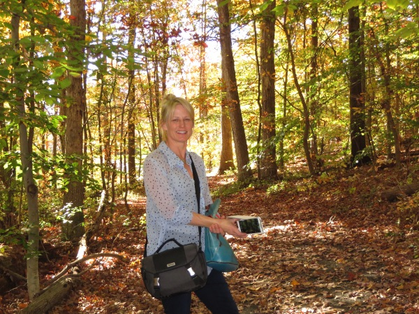 Ever patient with my compulsive photo taking, Susan paused for another photo during our woodland walk.