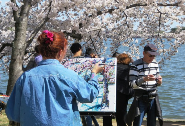 Creativity can blossom anywhere, as this artist knows. Washington DC, April 2015
