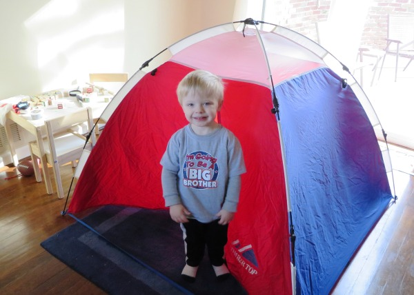 Grady has his own little playroom in their new home, January, 2016. That indoor tent was a favorite belonging of his Dad and his Uncle Matt, many years ago.