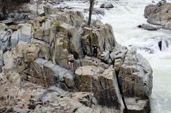 These hikers chose the adventurous path over the convenient sidewalks. Kelly and I admired their skill as we took the convenient path at Great Falls, April 2015