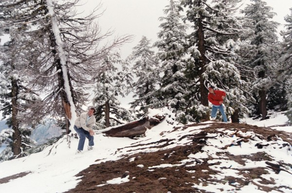 How often can you have a snowball fight in June? Jeff and Drew took advantage of the strange weather at Crater Lake in June, 2000.