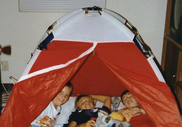 Drew and Matt with their friend Chris in the same tent seen above. Oahu, Hawaii, 1993