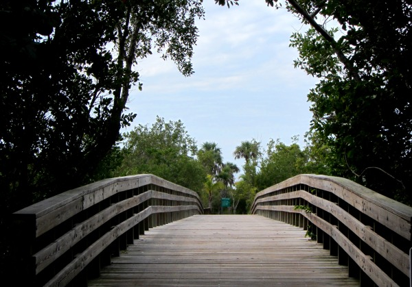 This bridge on Captiva Island, Florida, led through lush green paths to the sea. January, 2013