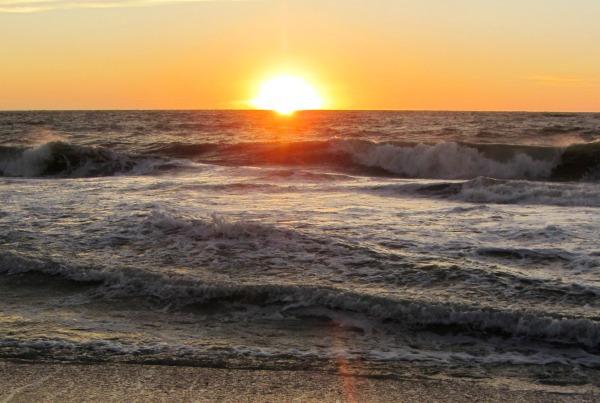 The sun sets over a restless sea, Captiva Island, Florida, January 2013.