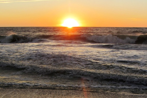 The sun sets over a restless sea, Captiva Island, Florida, January 2013.