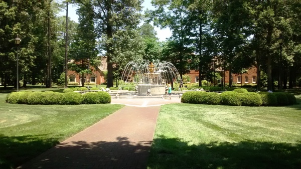I enjoyed seeing this fountain on my walks at Regent University, Virginia Beach, June 2016.