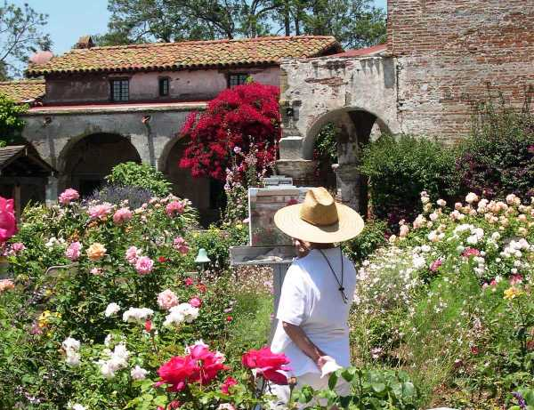 An artist captures a bit of the beauty hidden away in the past. Mission San Juan Capistrano, California, July 2004