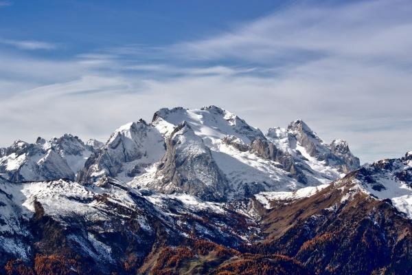 Marmolada is the highest mountain of the Dolomites, Italy. Photo by Marco Bonomo via Wikimedia Commons.